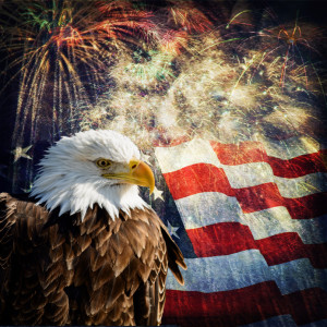 Composite photo of a Bald Eagle with a flag and fireworks in the background. Given a grunge overlay for a nice aged effect. Nice patriotic image for Independence Day, Memorial Day, Veterans Day and Presidents Day.